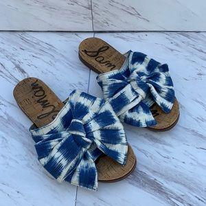 Sam Edelman Henna Slide Sandals Fabric Bow. Sz 8.